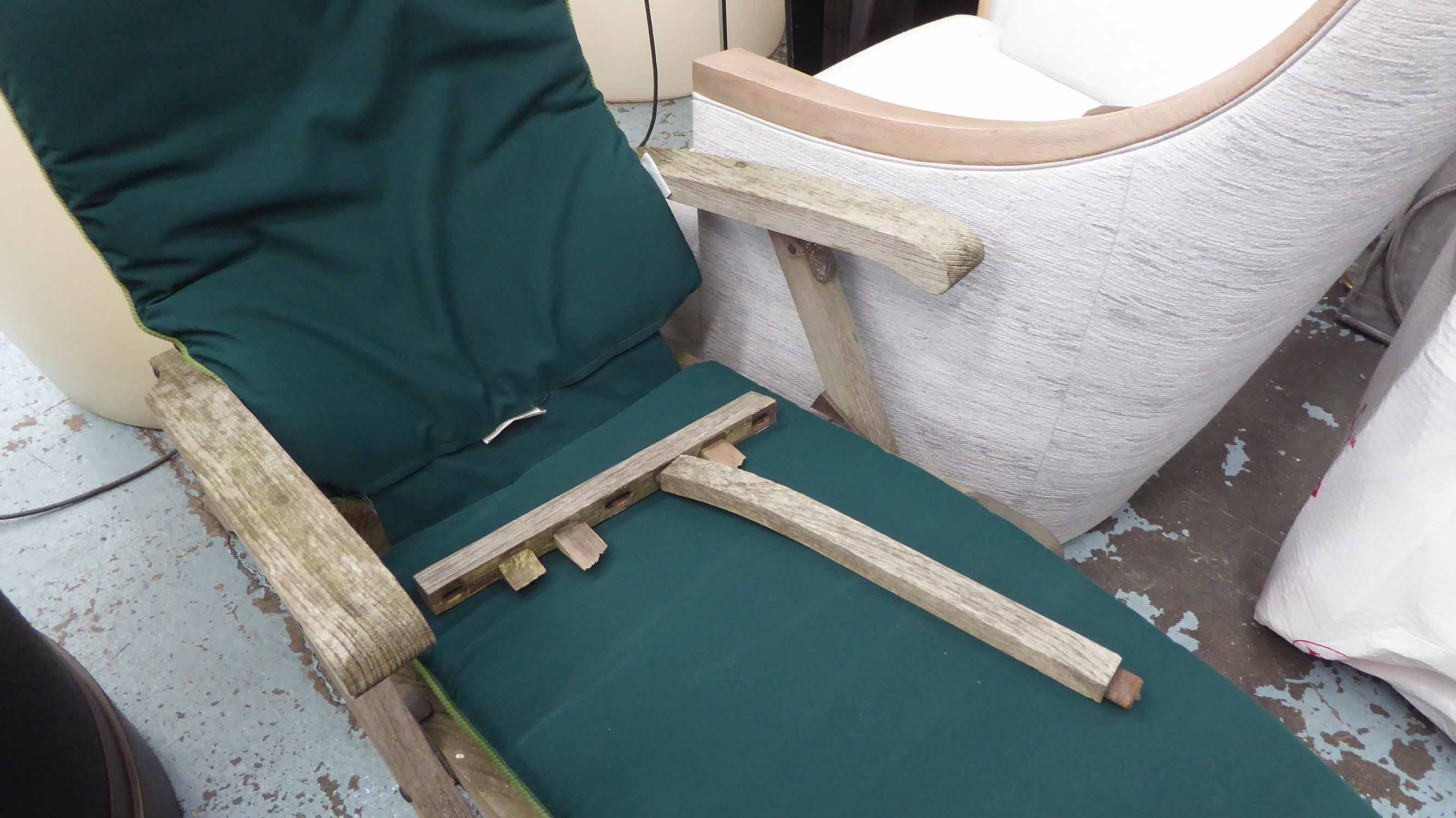 Lot 26 - TEAK GARDEN RECLINERS, a pair, weathered, by Barlow Tyrie.