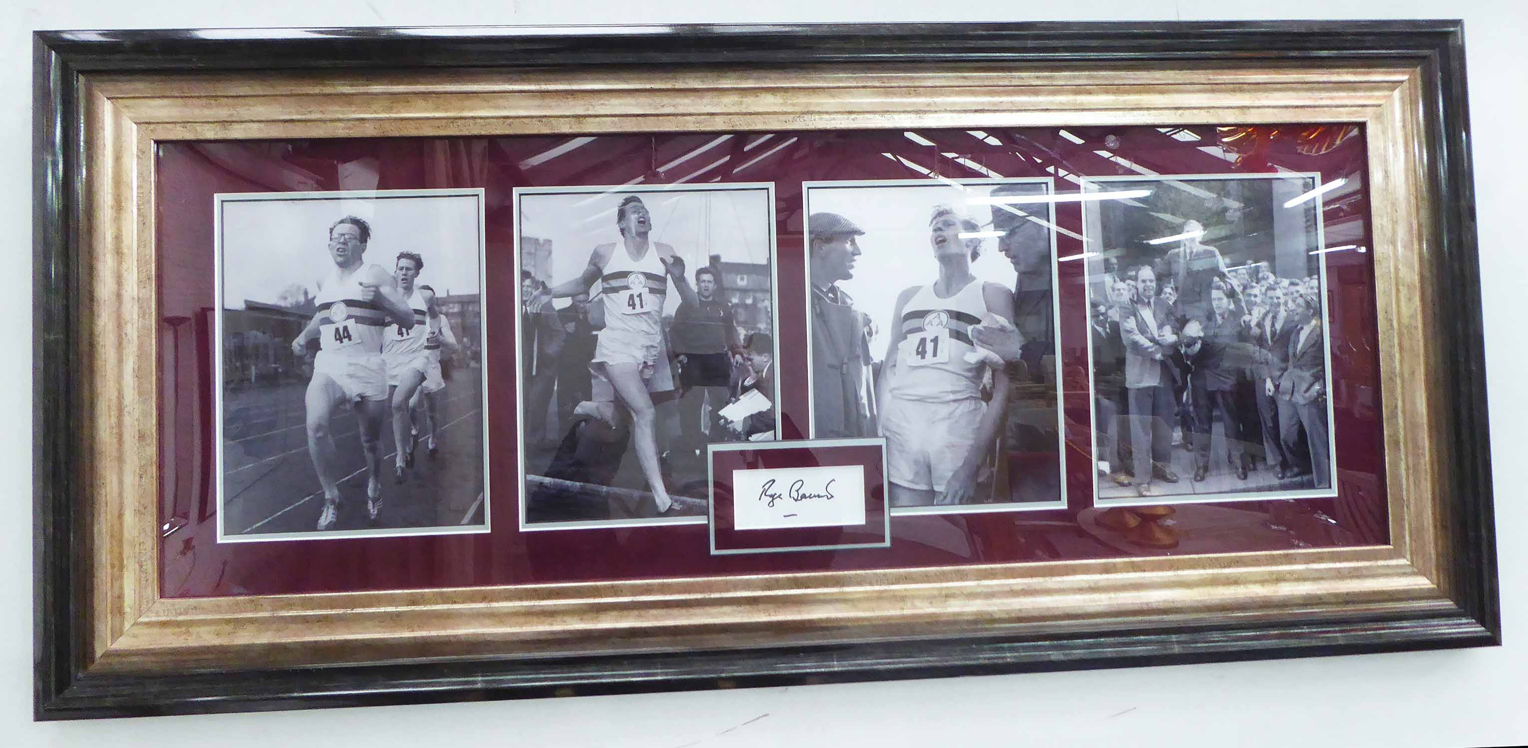 Lot 47 - ROGER BANNISTER PHOTOPRINTS, four framed as one, including his signature, overall 110cm W x 51cm H.