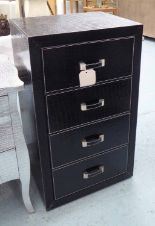 Lot 52 - TALL CHEST, having four drawers in faux crocodile pattern with silvered finish,