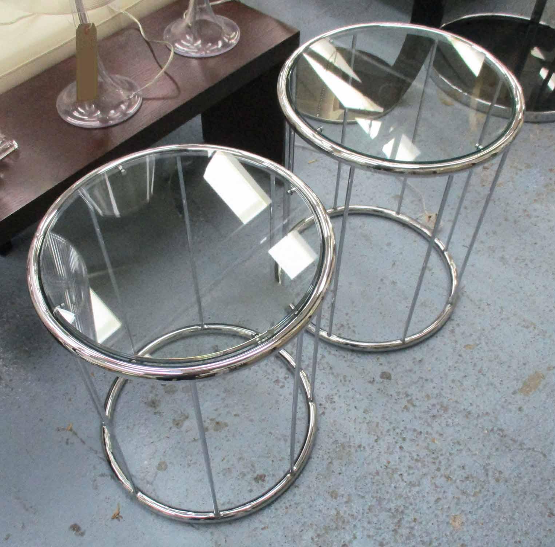 Lot 48 - SIDE TABLES, a pair, Bauhaus style, 55cm H.