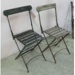 Lot 696 - FOLDING GARDEN CHAIRS, a set of ten, early 20th century iron with green painted slats, 43cm W.