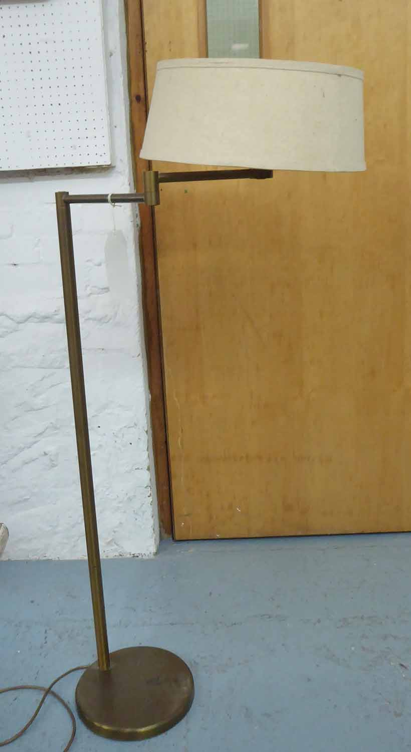 Lot 23 - FLOOR READING LAMP, brass with adjustable arm, 104cm H.