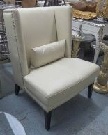 Lot 4 - WINGBACK ARMCHAIRS, a pair, in a white leather finish, 110cm H.