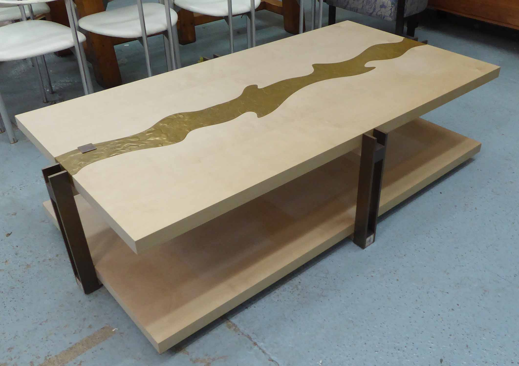 Lot 33 - LOW TABLE, with embossed metal centre streak and undertier on metal supports, 176cm x 95cm x 45cm H.