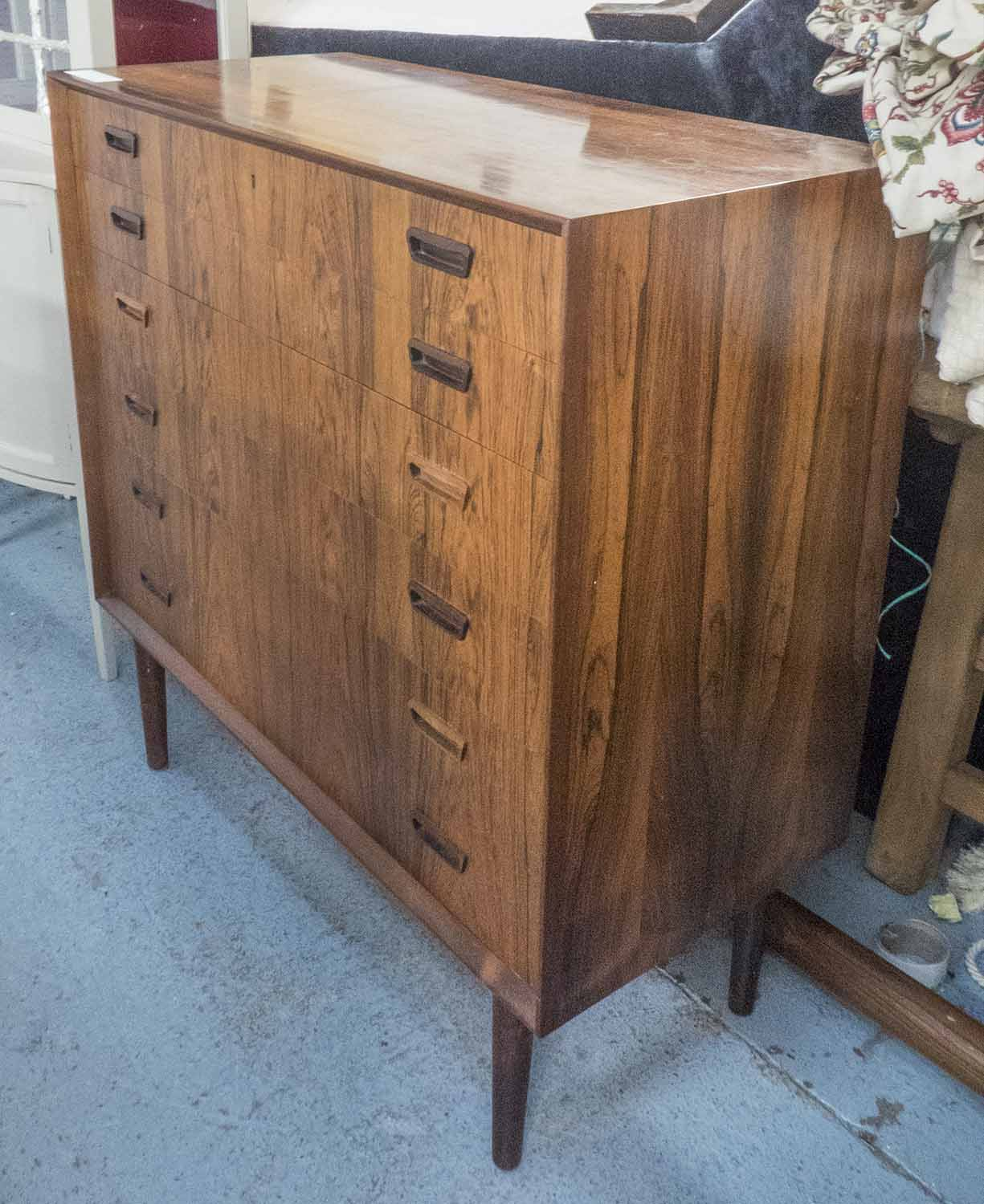 Lot 28 - CHEST, mid 20th century, rosewood with six drawers, 100cm W x 45cm D x 103cm H.