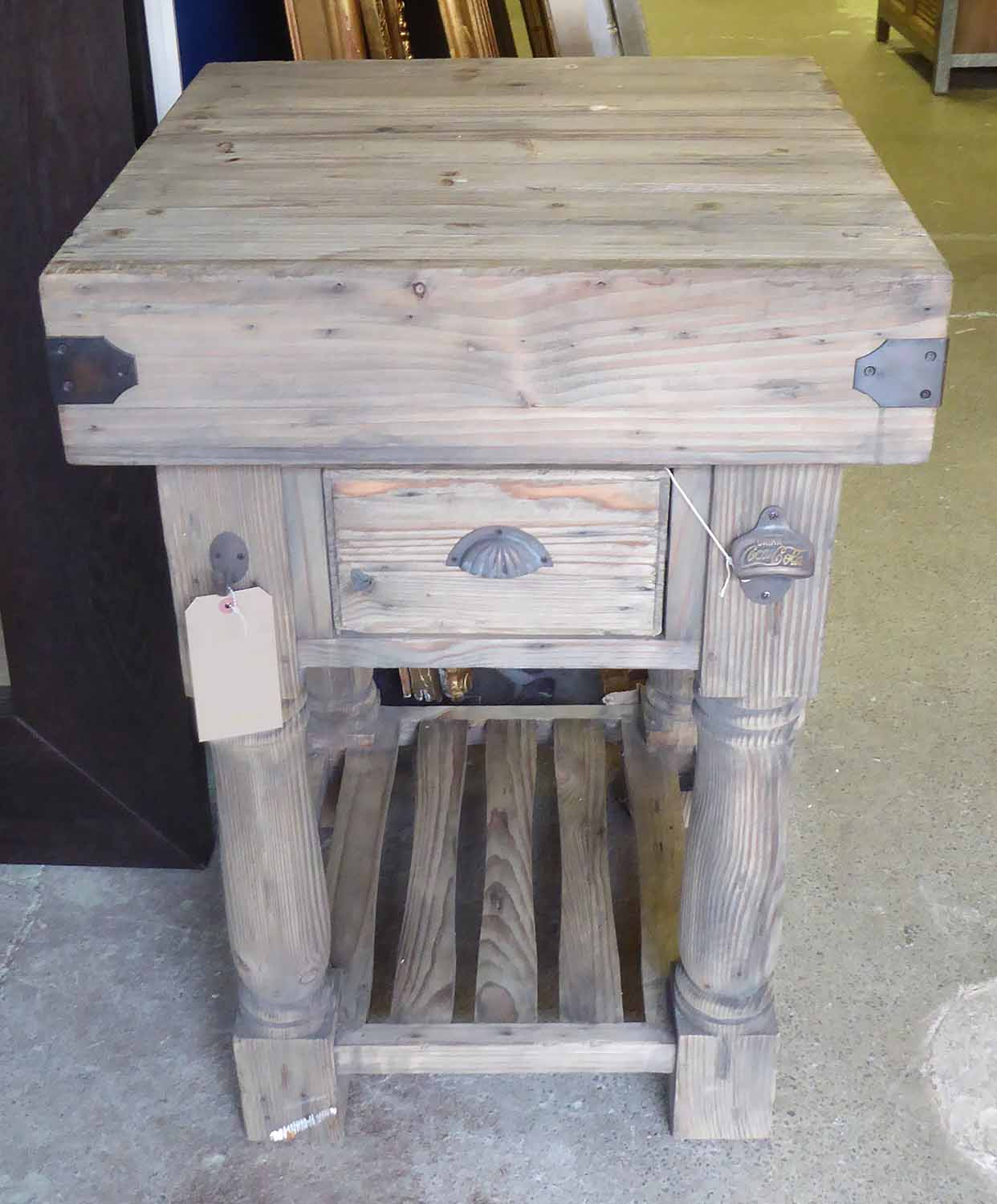 Lot 697 - BUTCHERS BLOCK, vintage inspired design, pine and metal bound with drawer, 60cm x 60cm x 90cm H.