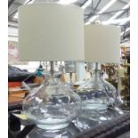 Lot 22 - TABLE LAMPS, a pair, glass with shades, overall each 54cm H.