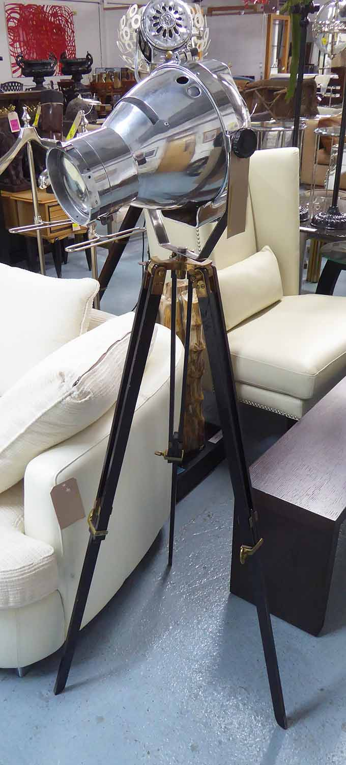 Lot 32 - STAGE LIGHT, vintage on later ebonised tripod, 150cm H.