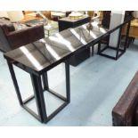 Lot 29 - CONSOLE TABLE, black gloss, 55cm D x 81cm H x 246 Long.