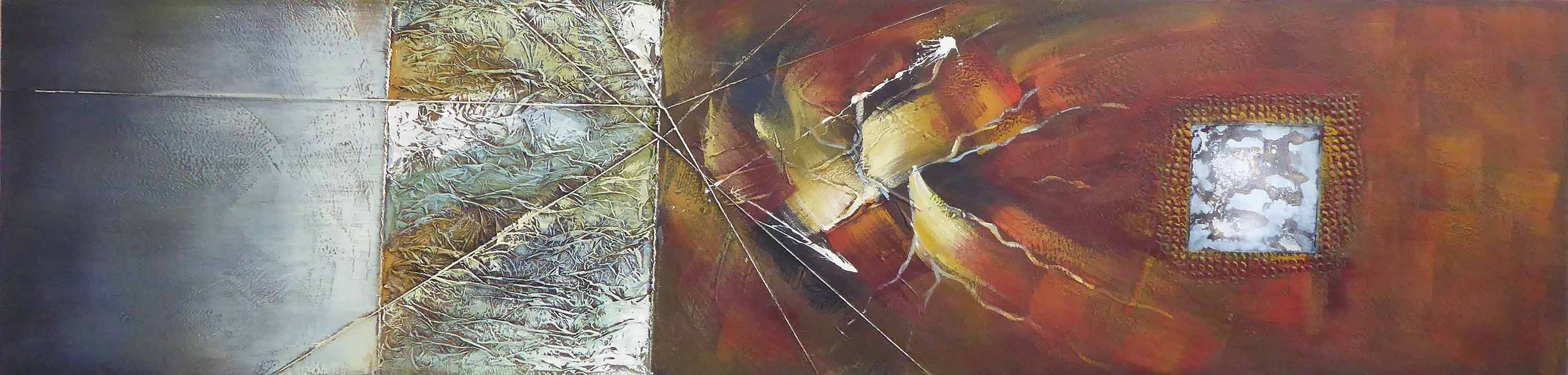 Lot 36 - OIL ON CANVAS, abstract, 200cm L x 50cm W.