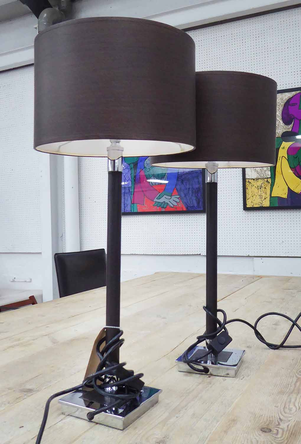Lot 15 - PORTA ROMANA LEATHER STICK TABLE LAMPS, a pair, with shades, 57cm H.