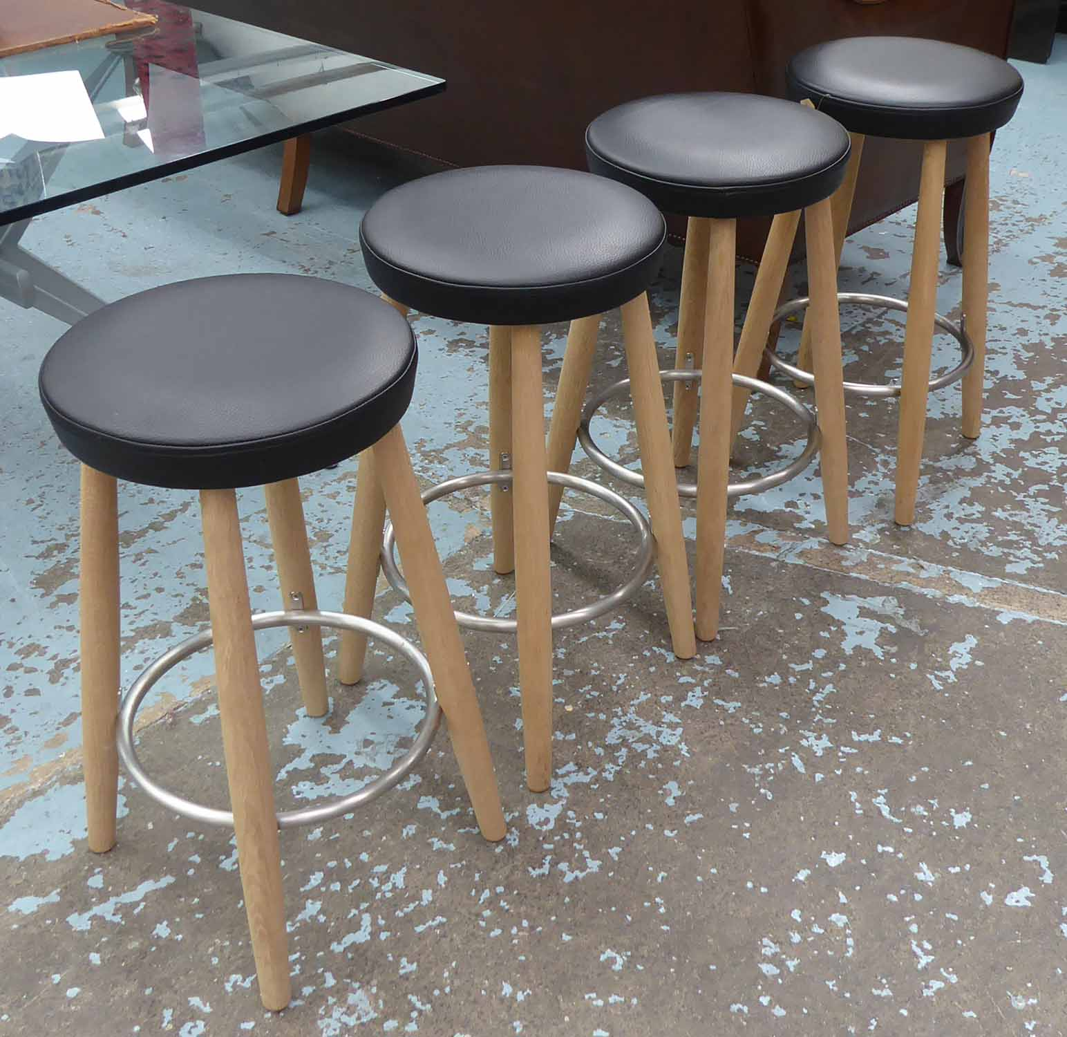 Lot 5 - CARL HANSEN & SON CH56 STOOLS, a set of four, by Hans Wegner, retails in excess of £2500, 67cm H.
