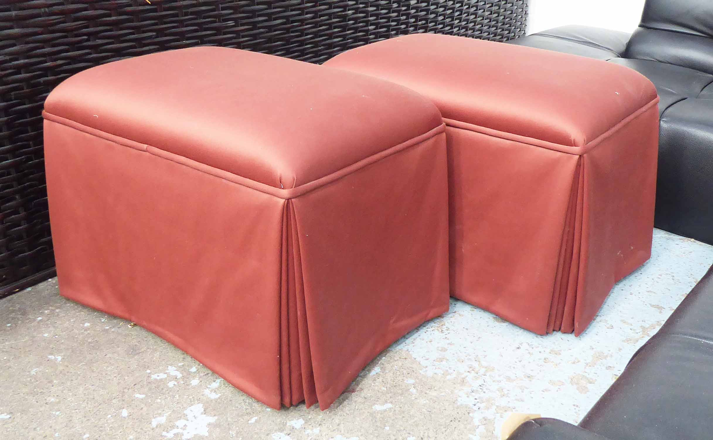 Lot 29 - J ROBERT SCOTT SUSIE SKIRTED OTTOMANS, a pair, by Sally Sirkin Lewis, 77cm x 51cm x 51cm.