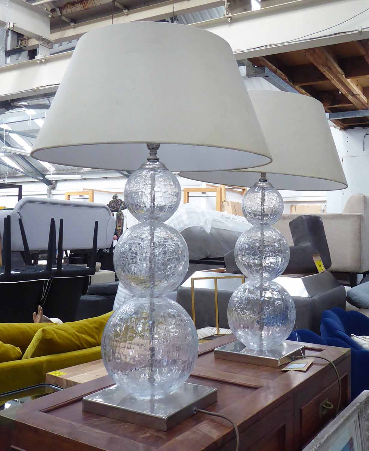 Lot 58 - PORTA ROMANA LARGE PASTEUR TABLE LAMPS, a pair, with shades, 76cm H.