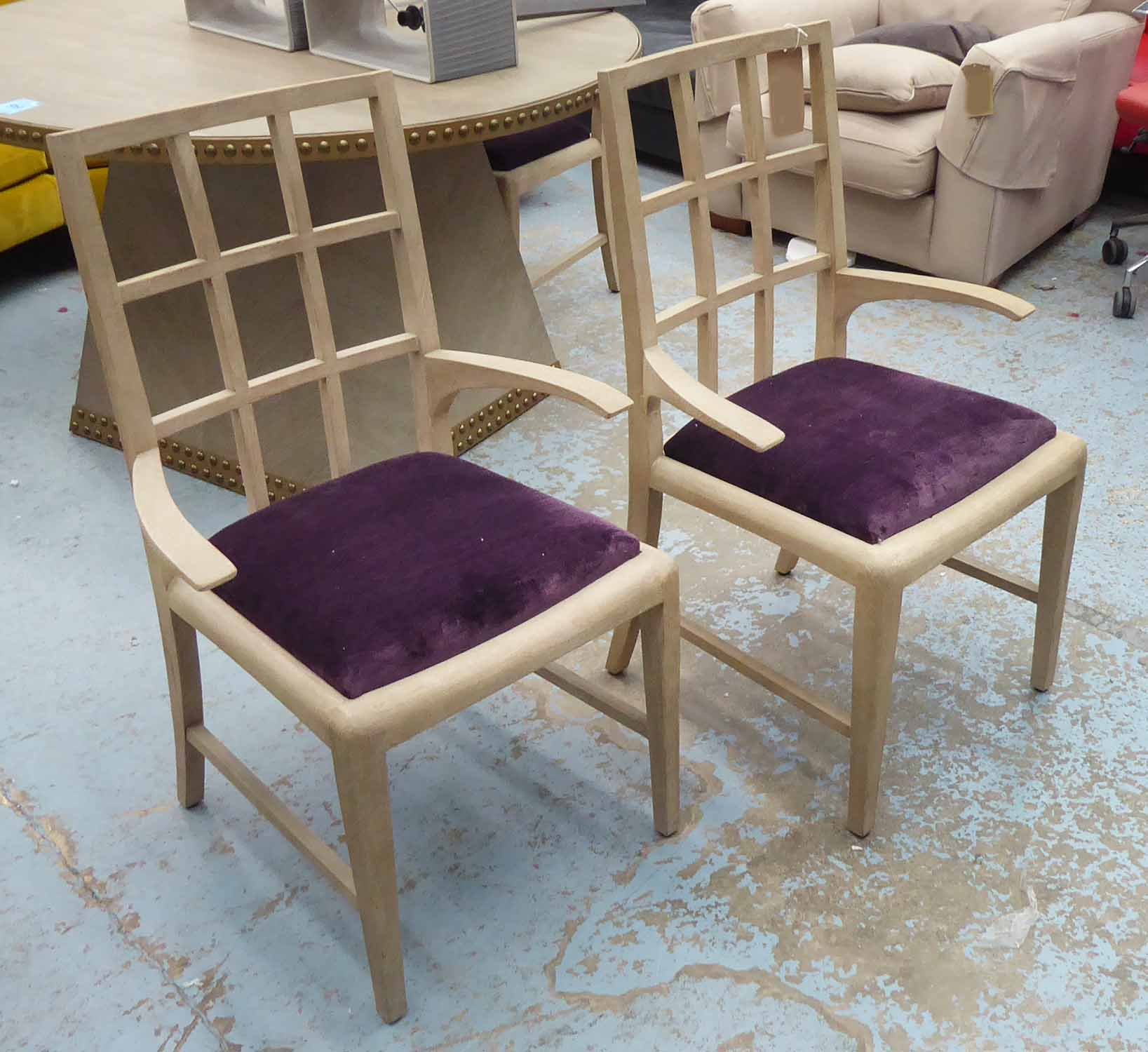Lot 59 - JULIAN CHICHESTER HAROLD CARVER CHAIRS, a set of four, 95cm H.