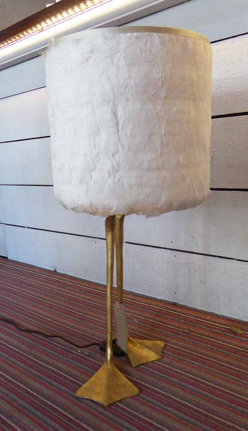 Lot 10 - PORTA ROMANA DUCK FEET TABLE LAMP, with feathered shade, 78cm H.