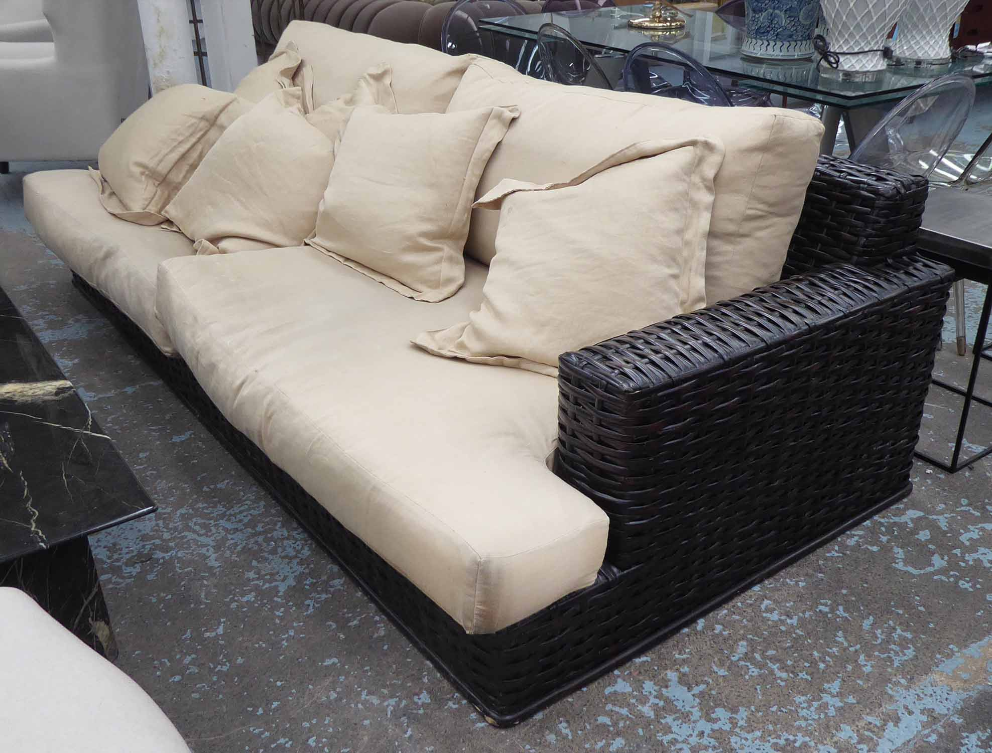 Lot 14 - RALPH LAUREN HOME SOFA, rattan and ebonised wood with duck down cushions, 250cm W (slight faults).
