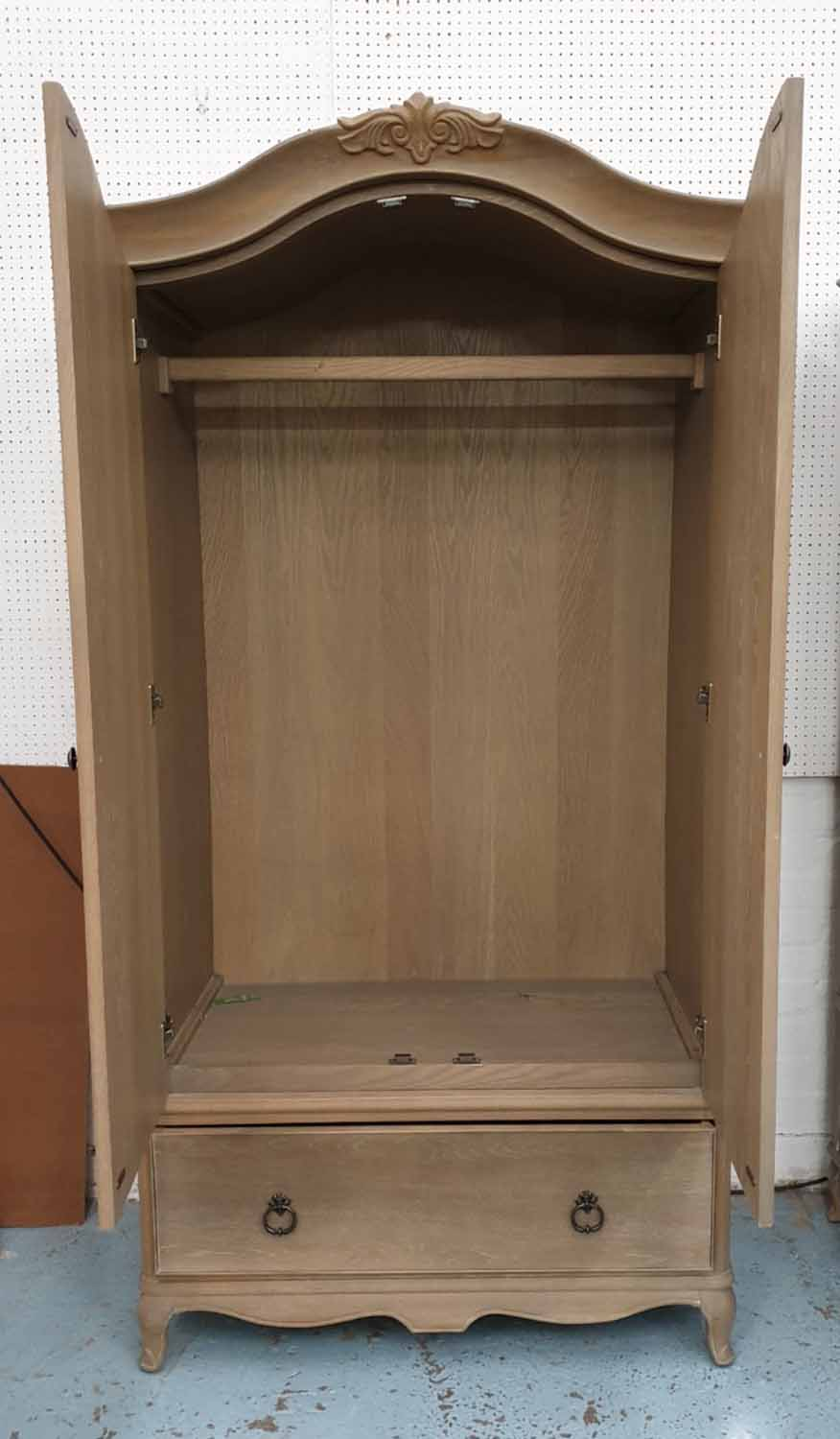 Lot 28 - ARMOIRE, French style, wooden with drawer to base, 107cm W x 67cm D x 200cm H.