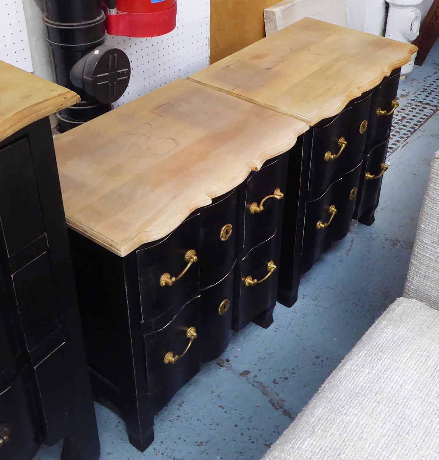Lot 35 - PAIR OF BEDSIDE CHESTS, black with wooden tops, 60cm H x 55cm W x 37cm.
