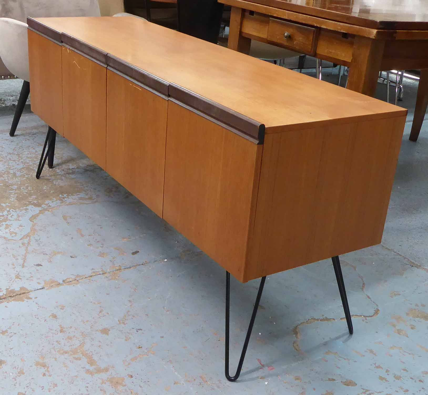 Lot 38 - GPLAN SIDEBOARD, on later hairpin legs, 152cm x 46cm x 69cm.