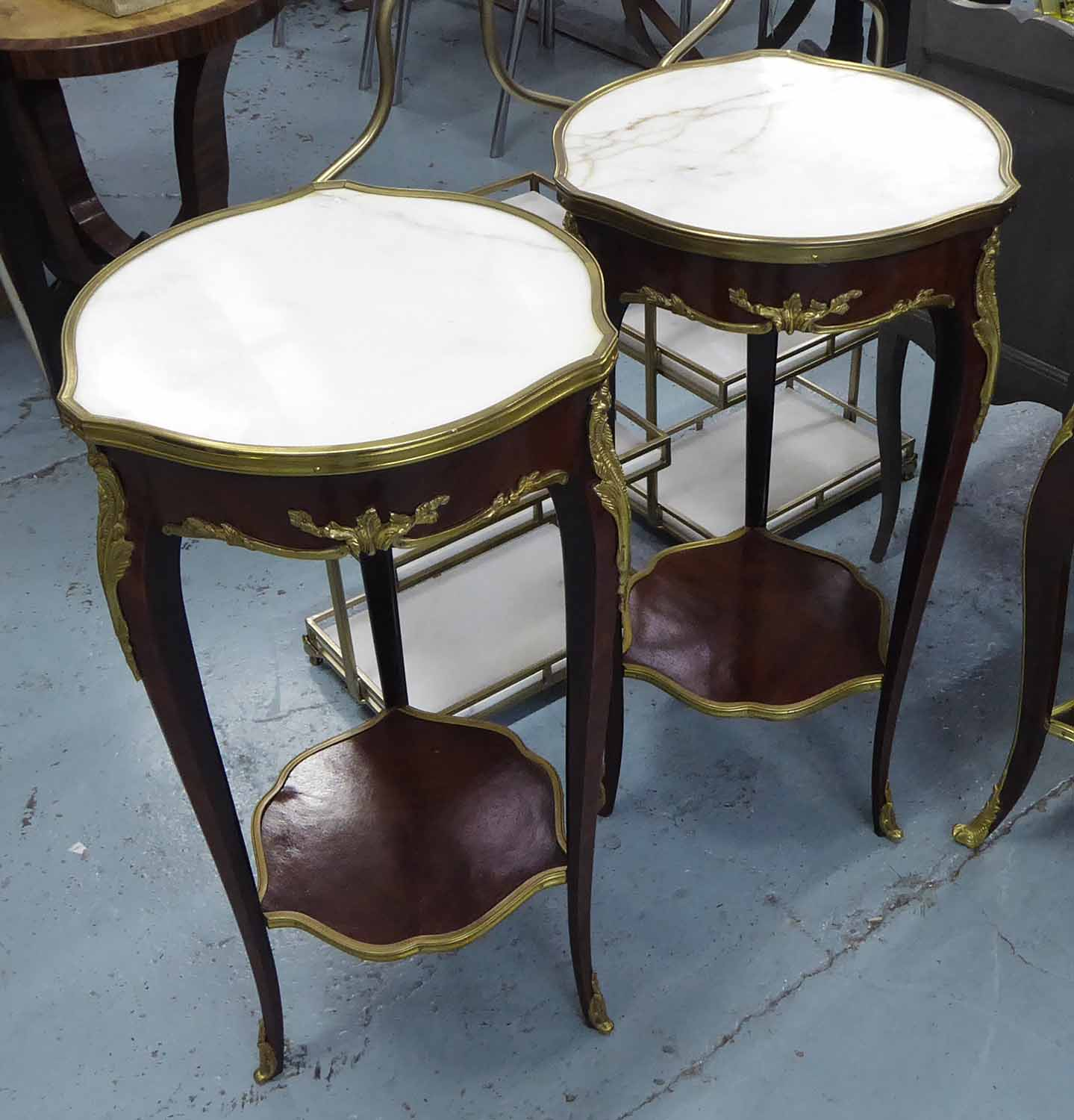 Lot 13 - JARDINIERE STANDS, a pair, Louis XV style with marble tops, 40cm x 40cm x 76cm H.