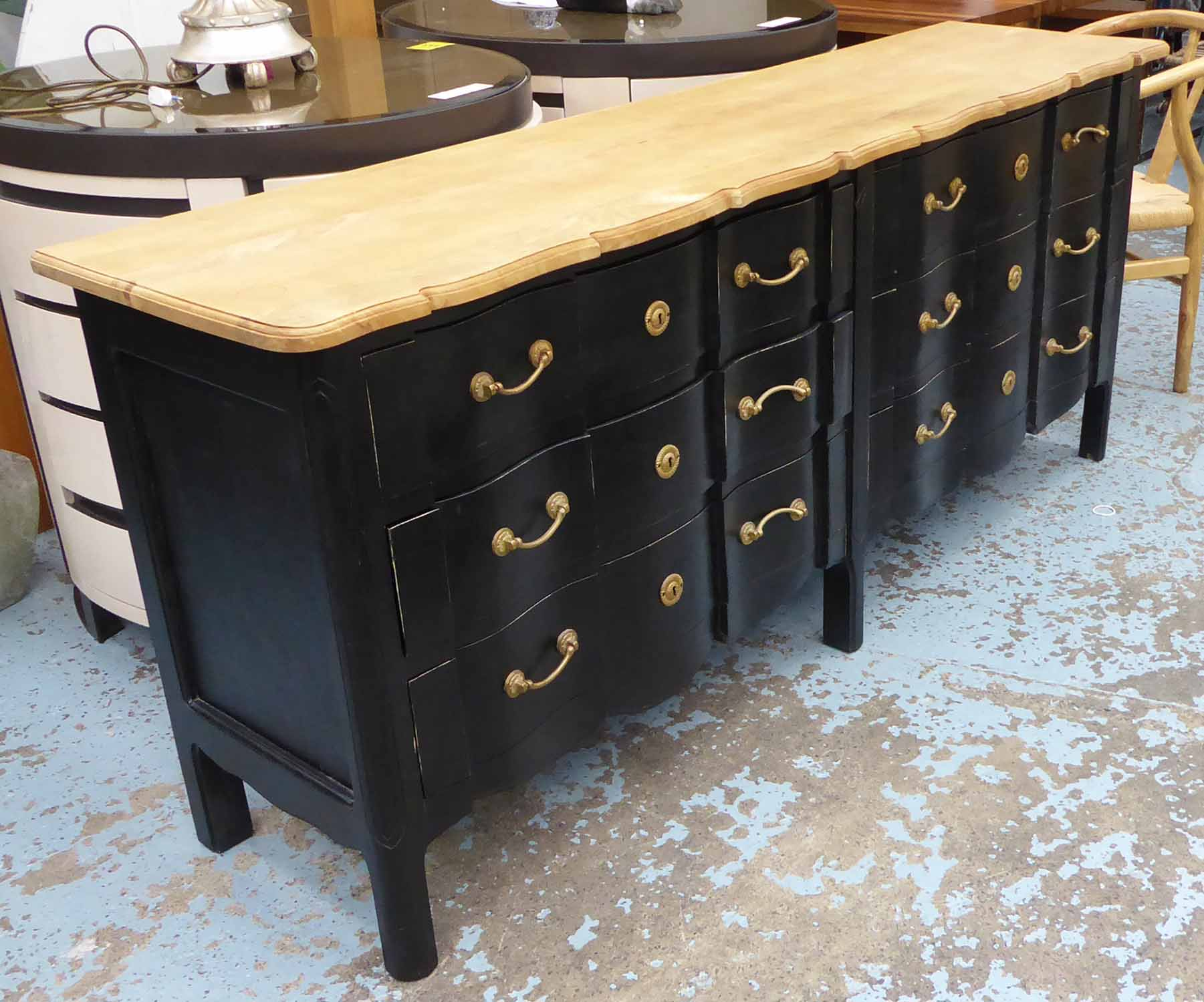 Lot 33 - BANK OF SIX DRAWERS, black with a wooden top, 200cm L x 50cm D x 88cm H.