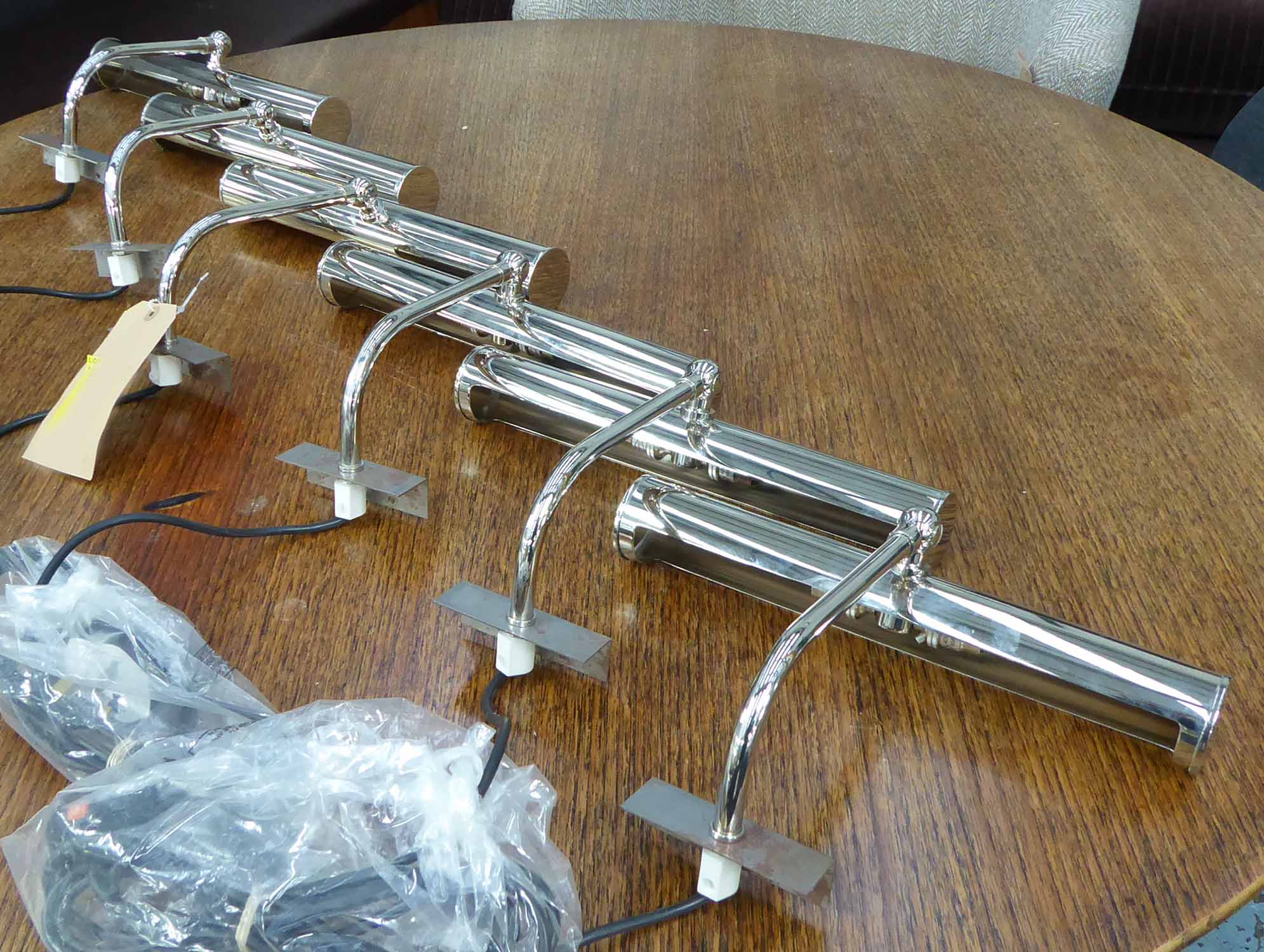 Lot 41 - BEST AND LLOYD PICTURE LIGHTS, a set of six, various designs, 35cm largest.