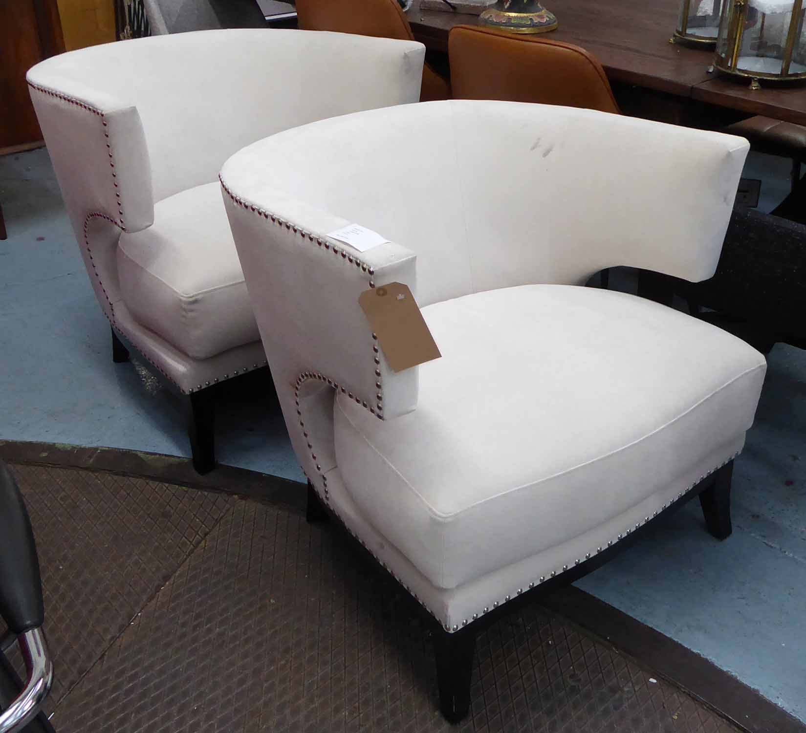 Lot 2 - ANDREW MARTIN STYLE TUB CHAIRS, a pair, 80cm H.