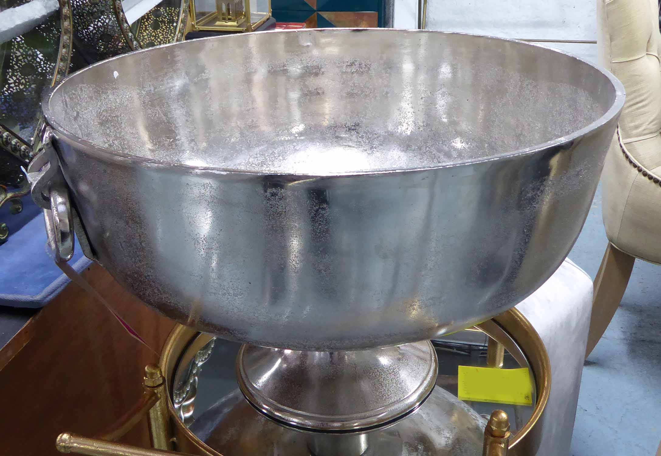 Lot 8 - CHAMPAGNE BATH, contemporary polished metal finish, 32cm H x 53cm diam.