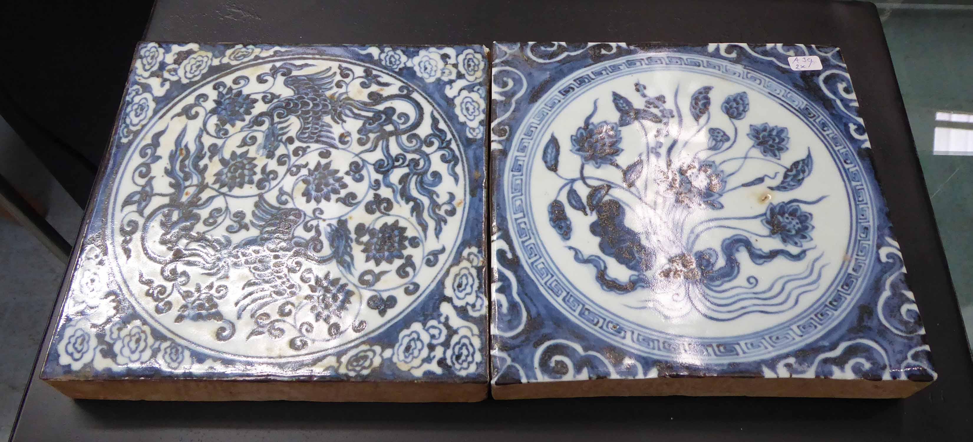 Lot 23 - TILES, a pair, Delftware style, 20cm x 20cm.