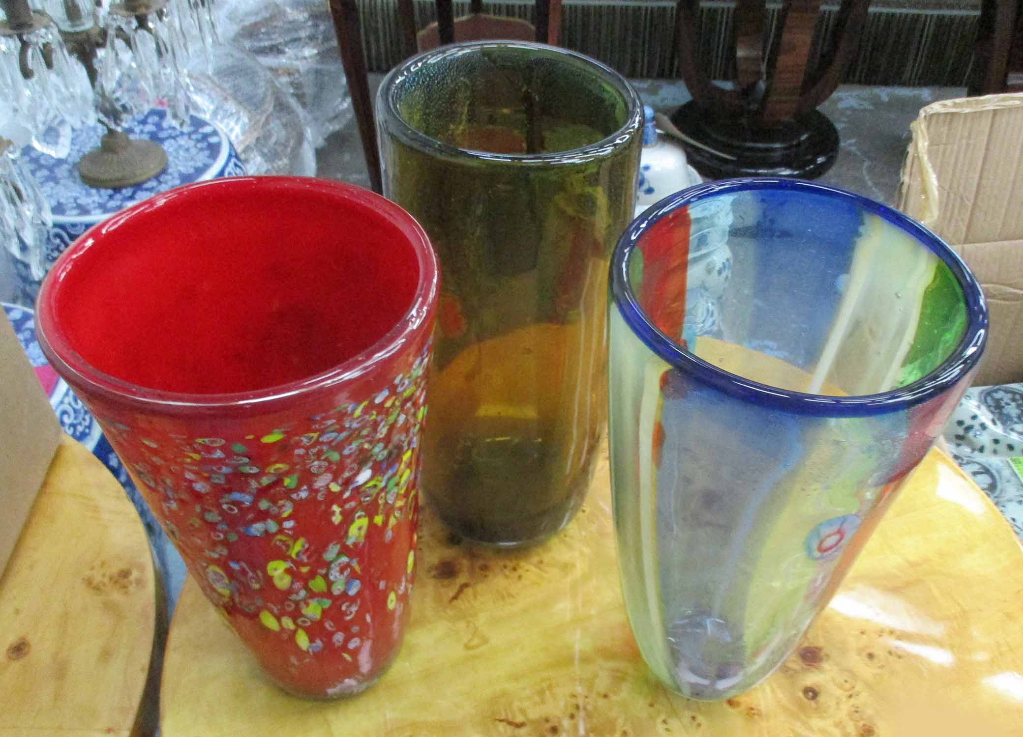 Lot 22 - VASES, a set of three, Murano style, 31cm H.
