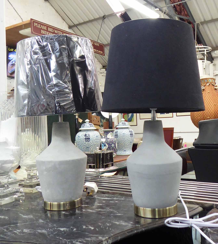 Lot 7 - TABLE LAMPS, a pair, with shades, concrete design, 55cm H.