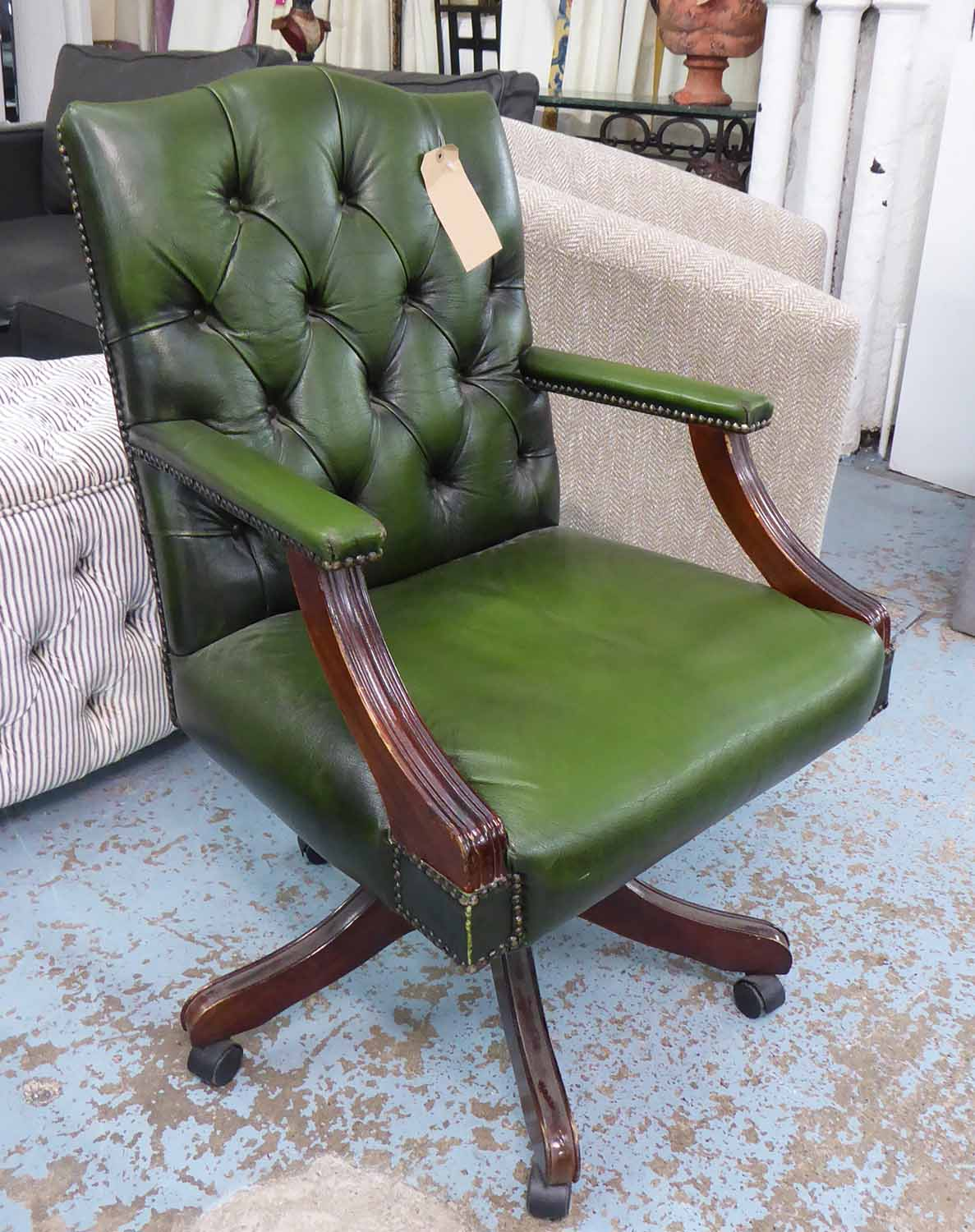 Lot 32 - DESK CHAIR, in the English country house style, 97cm H.