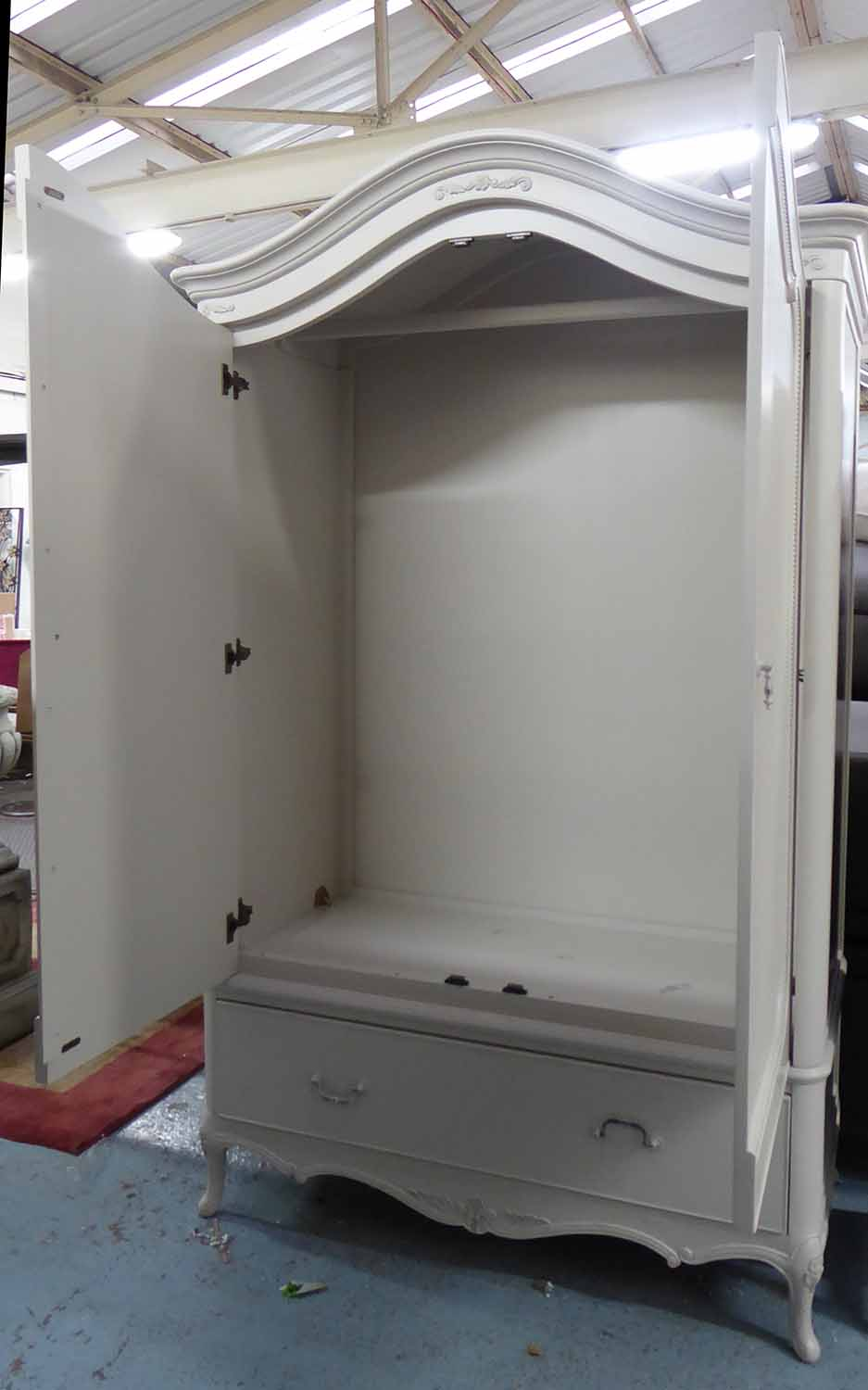 Lot 18 - WARDROBE, French style grey with hanging space over a drawer, 127cm x 206cm H x 67cm.