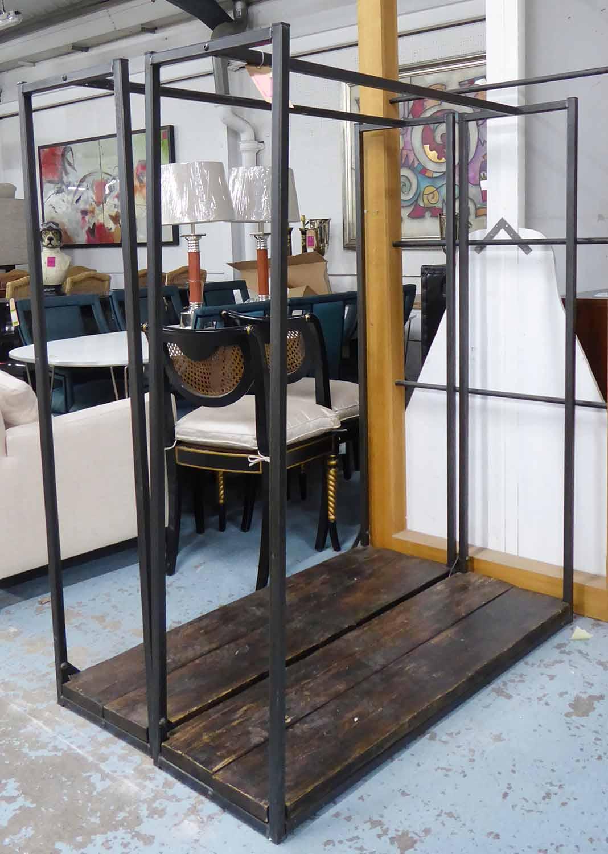 Lot 22 - CLOTHES RACKS, a pair, metal contemporary industrial design, 40cm x 160cm H x 131cm.