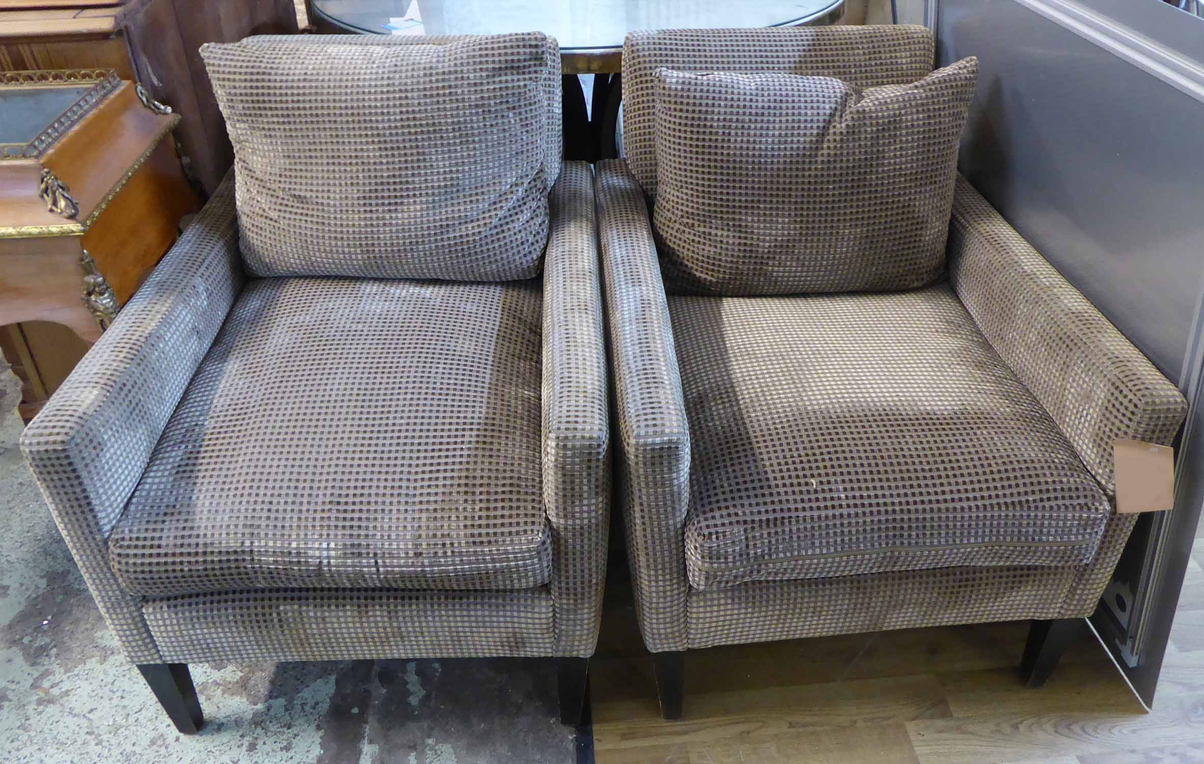 Lot 53 - ARMCHAIRS, a pair, contemporary checked fabric on ebonised supports, 80cm H.