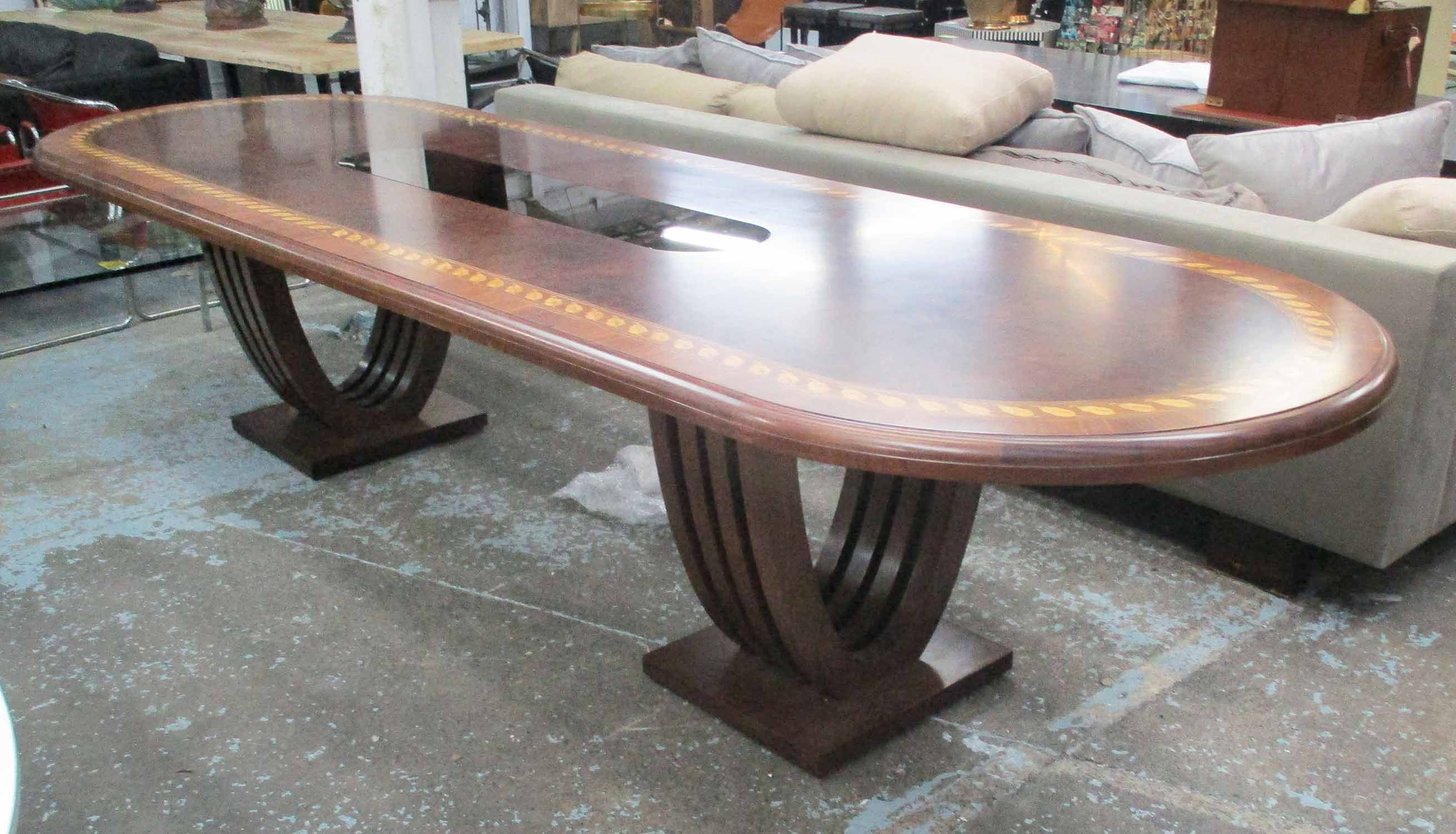 Lot 14 - DINING TABLE, of substantial proportions,