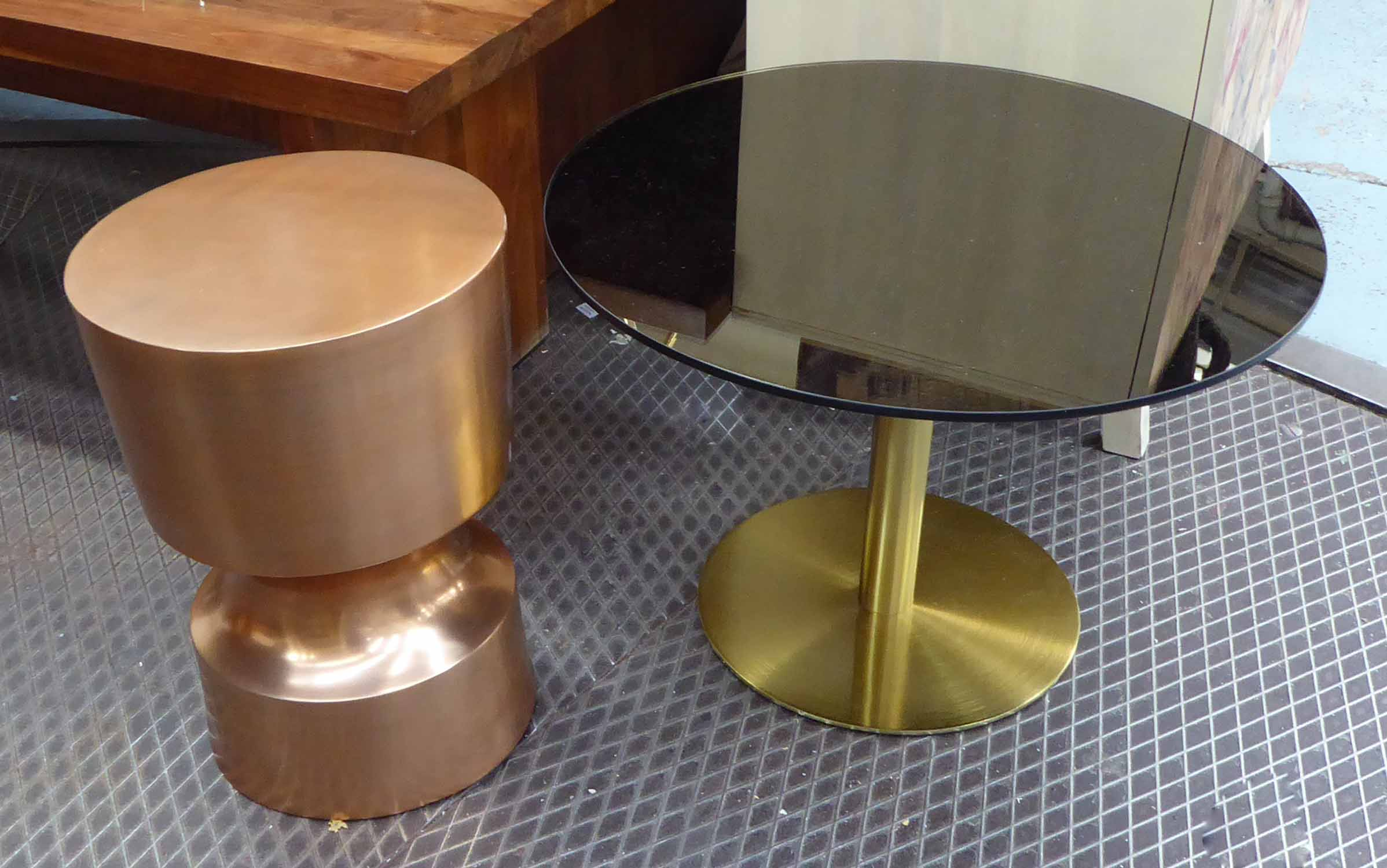 Lot 27 - SIDE TABLES, a duo, of differing designs, 60cm diam.