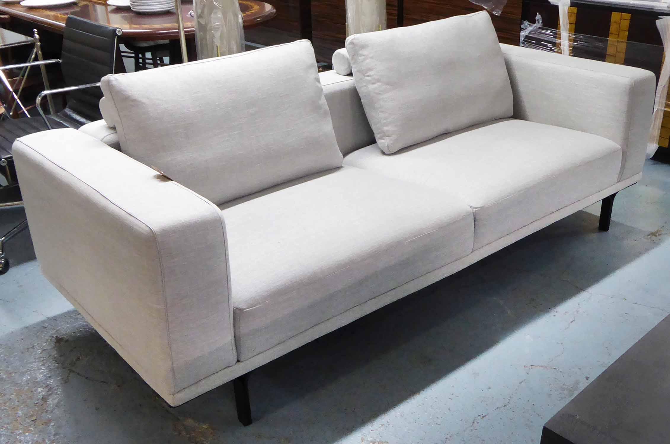 Lot 59 - SOFA, contemporary ivory fabric finish, 220cm W.