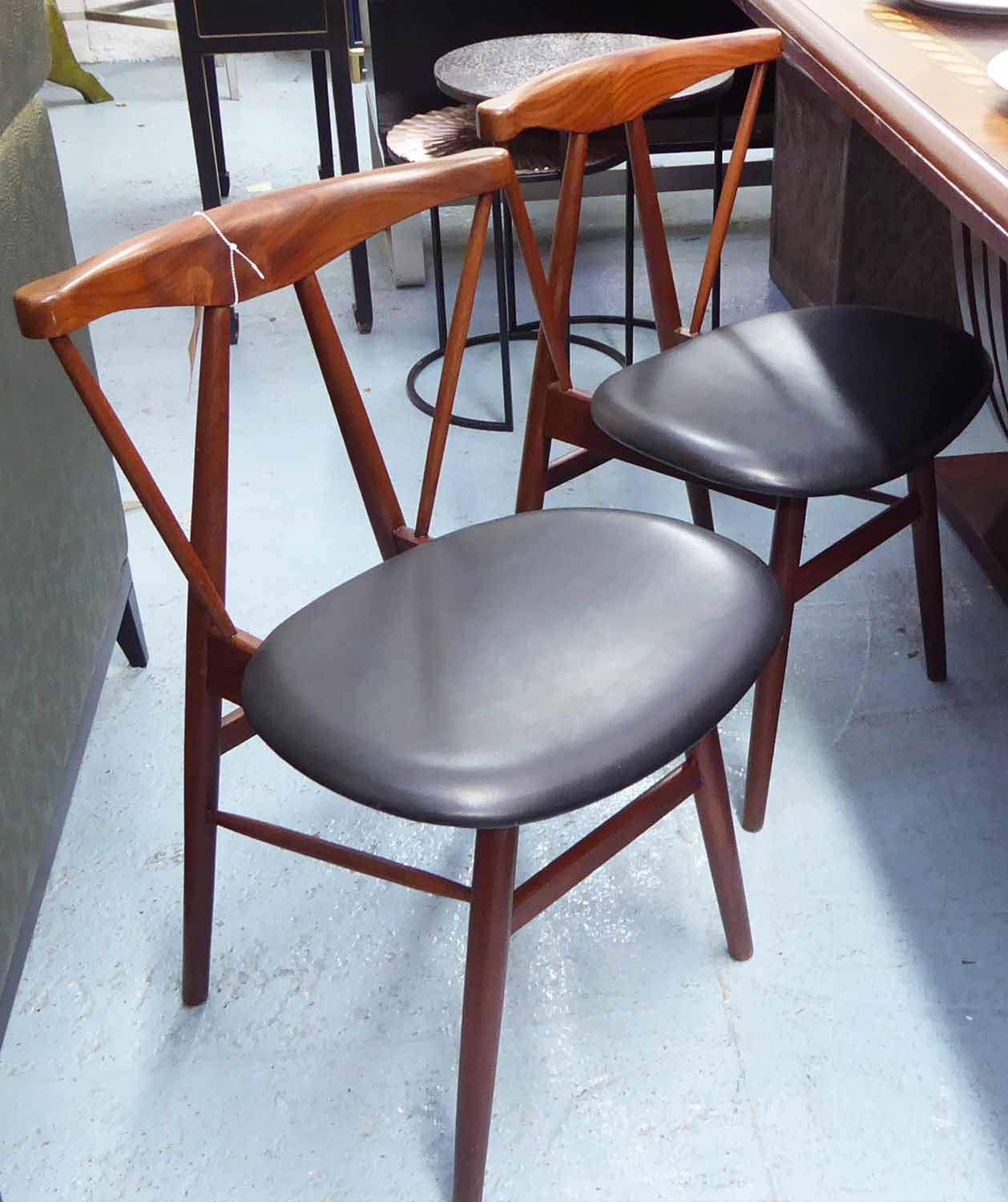 Lot 2 - DINING CHAIRS, a set of four vintage, 1960's teak, 75cm H.