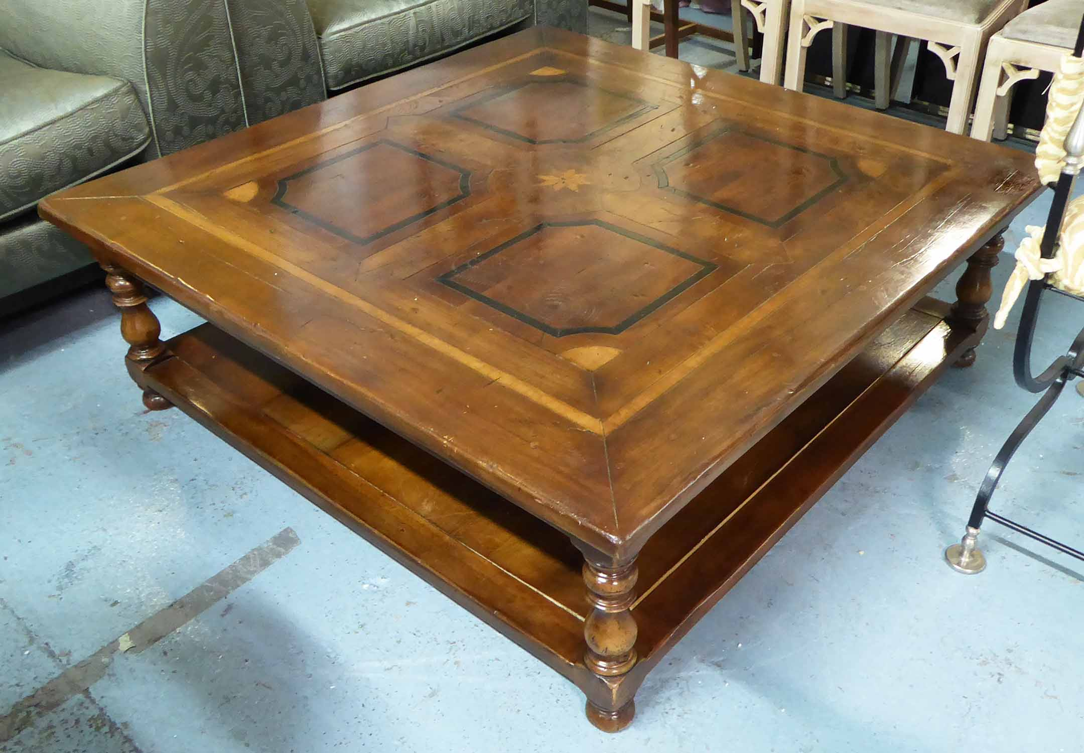 Lot 60 - LOW TABLE, French provincial style with marquetry top, 120cm x 120cm x 41cm.