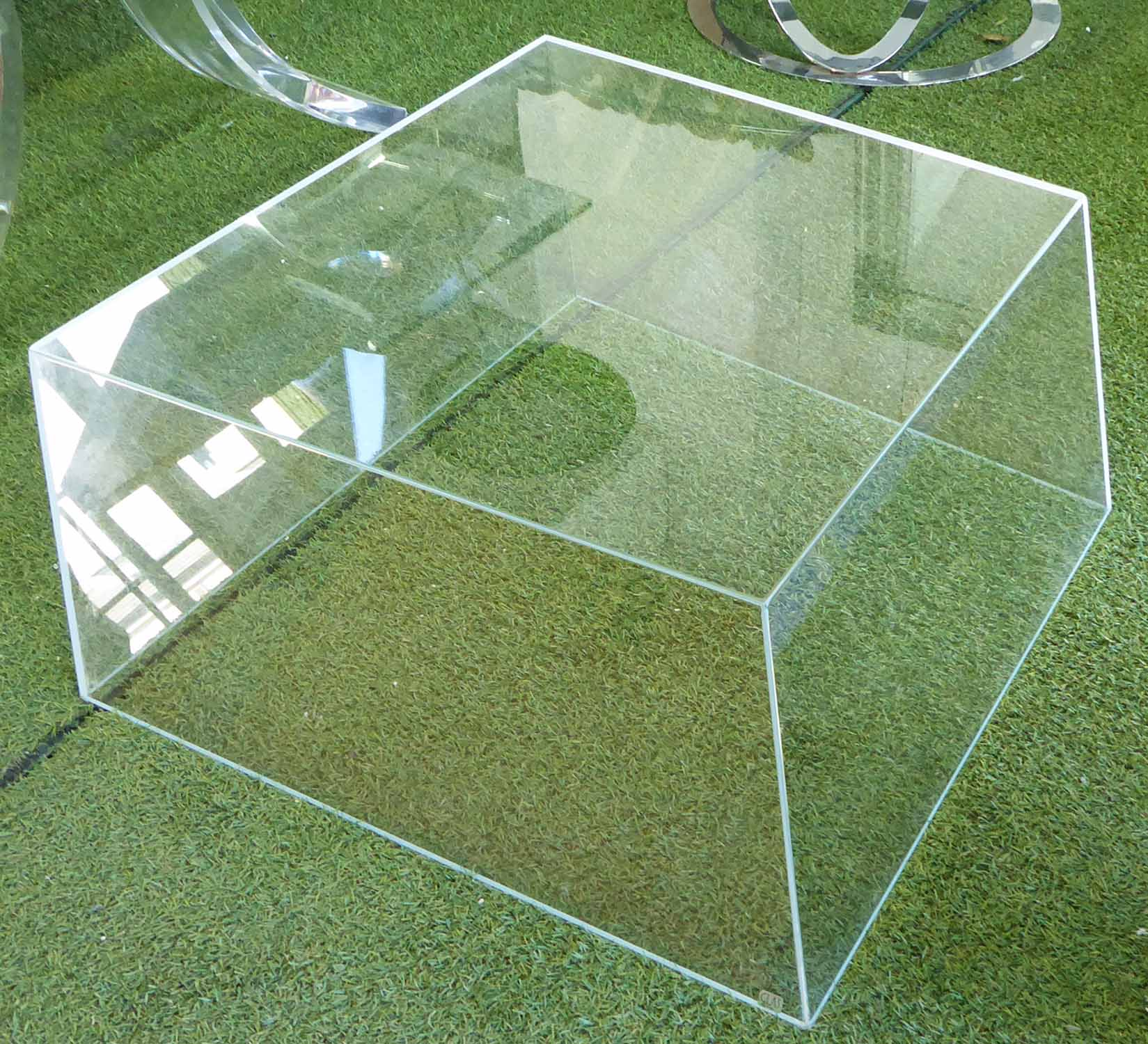 Lot 57 - LOW TABLE, glass on geometric angled form, 80cm W x 80cm D x 25cm H.
