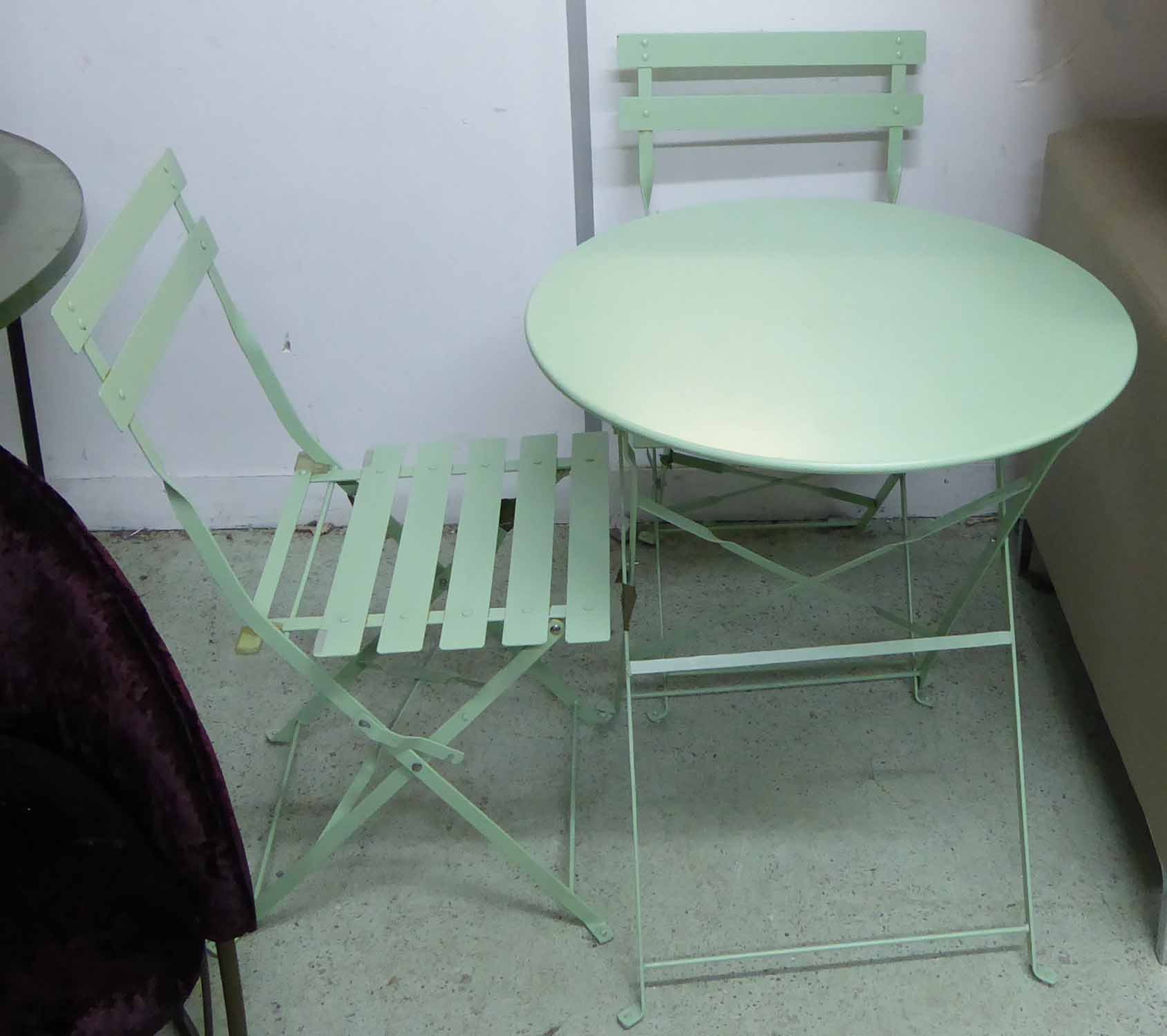 Lot 33 - GARDEN SET OF THREE, in metal sea green colour, all folding table, 60cm D x 70cm H, chairs 41cm W.