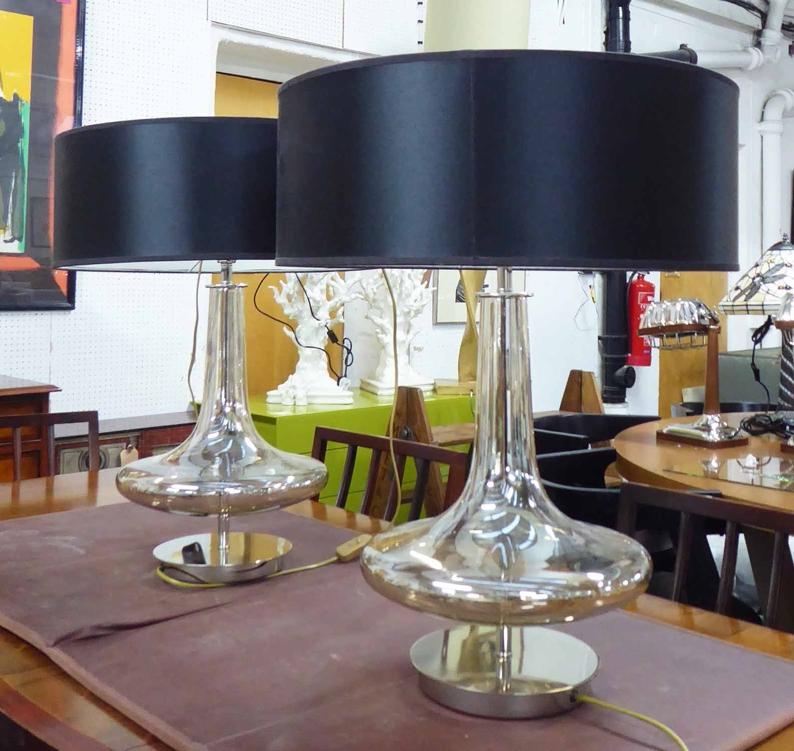 Lot 31 - R V ASTLEY VITA TABLE LAMPS, a pair, with shades, 62cm H.
