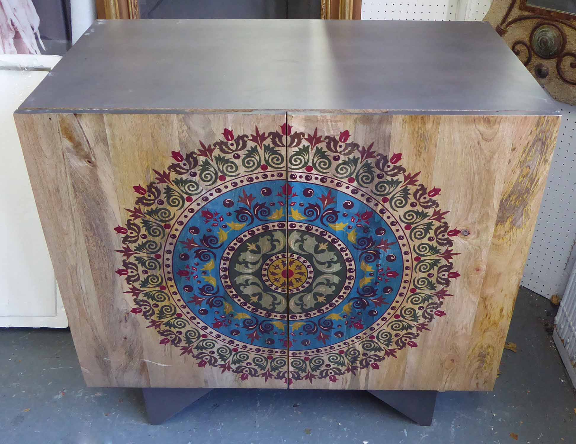 Lot 42 - SIDE CABINETS, a pair, mango wood, painted and emblazed with intricate foliate roundel design,