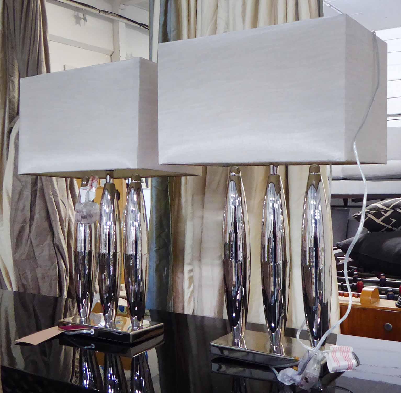 Lot 19 - R V ASTLEY DARI TABLE LAMPS, a pair, with shades, 64cm H.