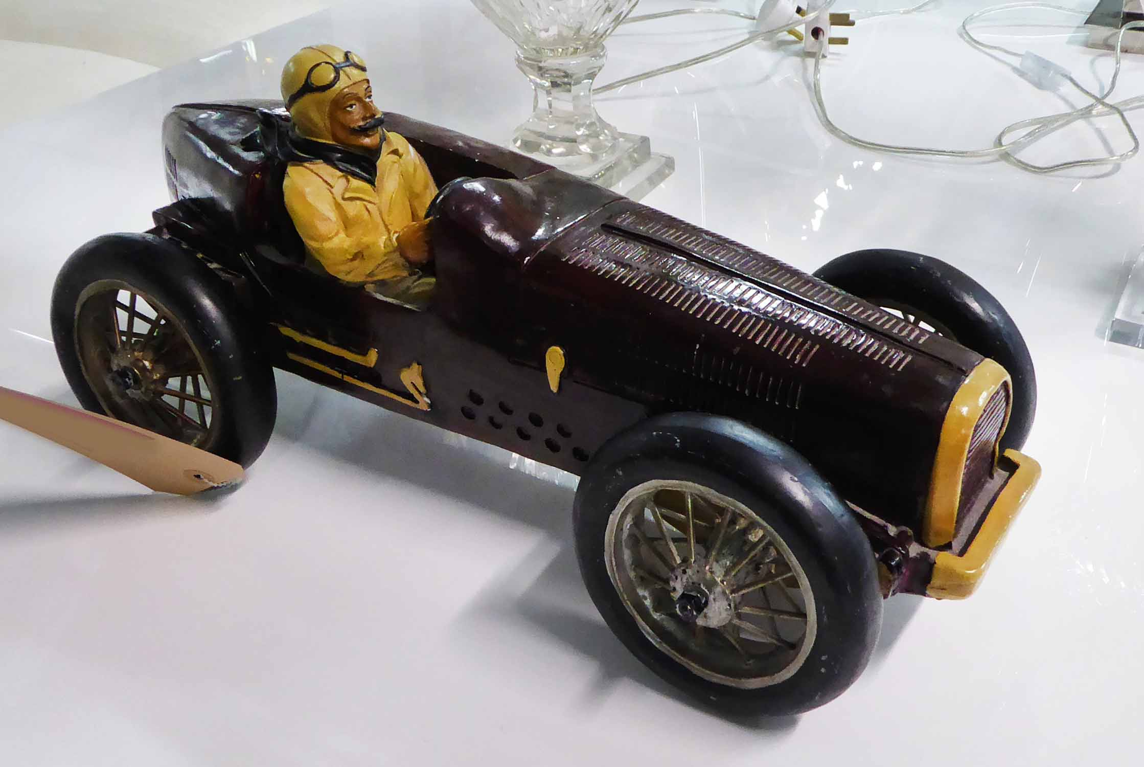 Lot 32 - MODEL RACING CAR, vintage scaled down design, authentic stylised finish with metal spoke wheels,