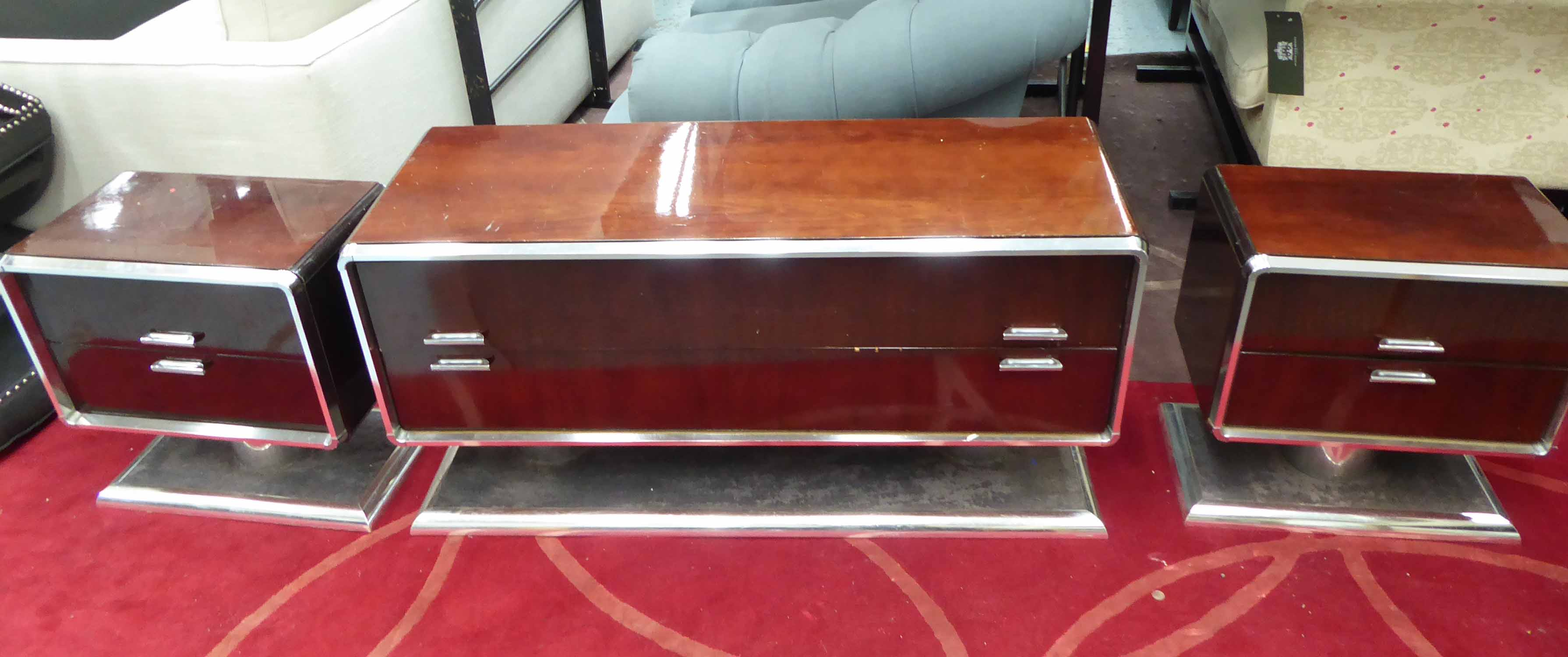 Lot 50 - LOUNGE CABINET SET, vintage 1970's champ-buckets rosewood with carpet detail at base, 124cm largest.