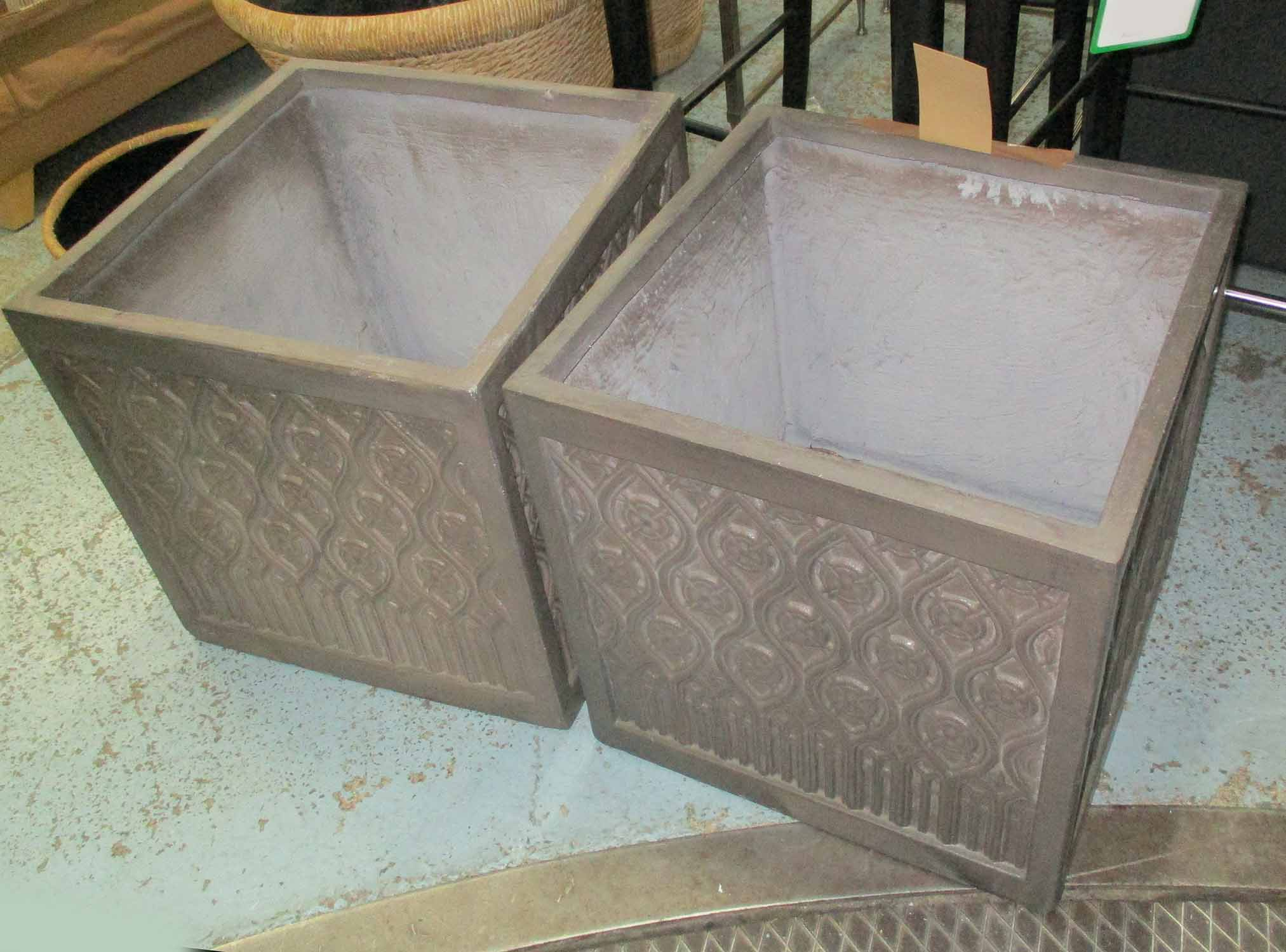 Lot 23 - PLANTERS, a pair, lead style design,