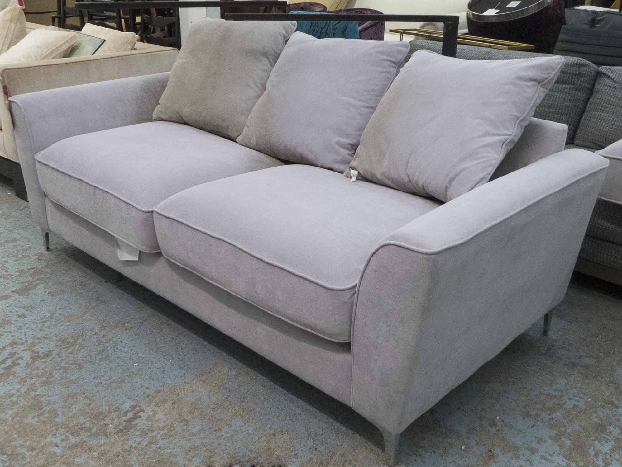 Lot 35 - SOFA, two seater, in grey fabric on chromed metal supports plus three cushions, 205cm L.